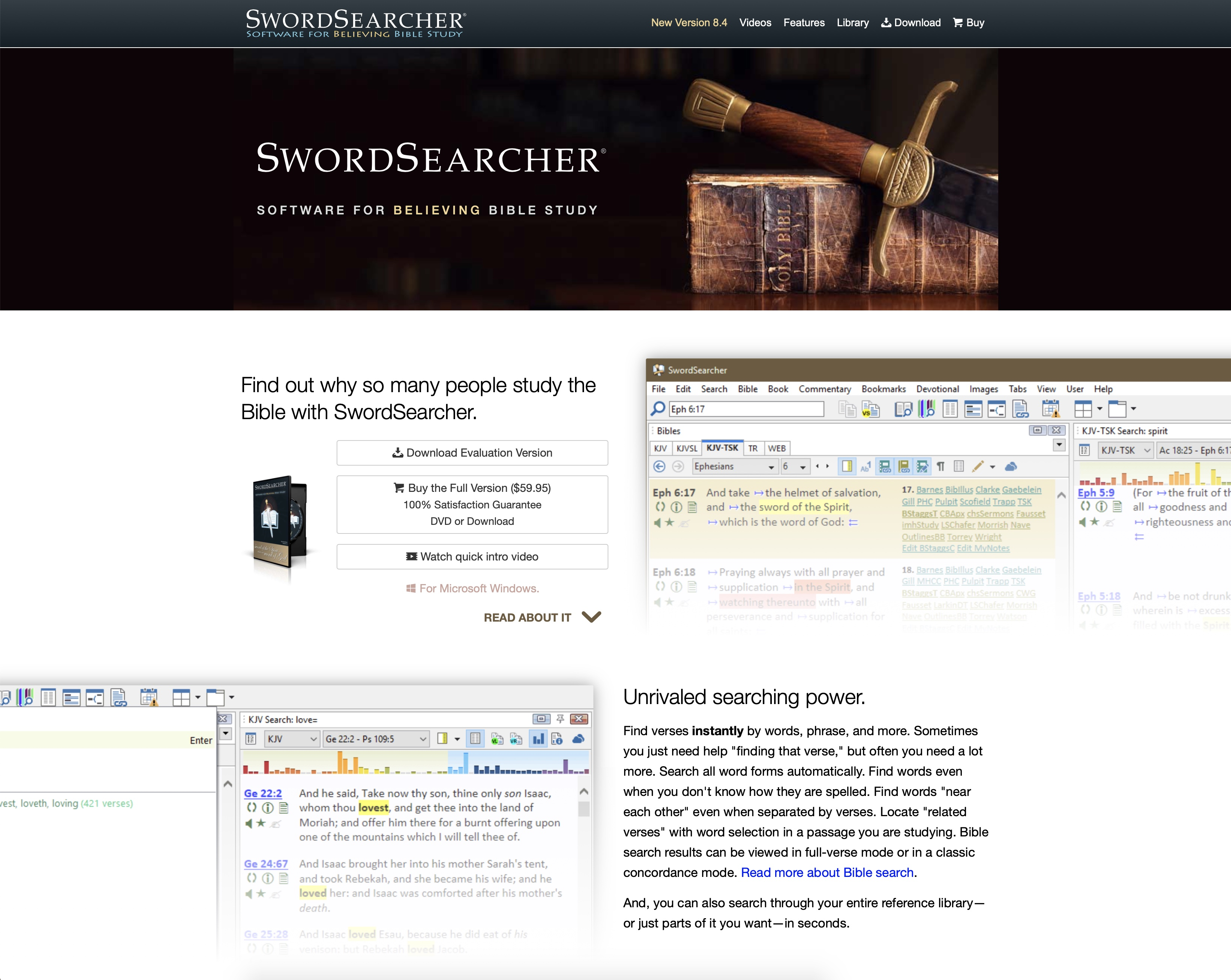 Swordsearcher KJV bible software. Bijbelstudie software KJV. Software om de King James Bible te bestuderen