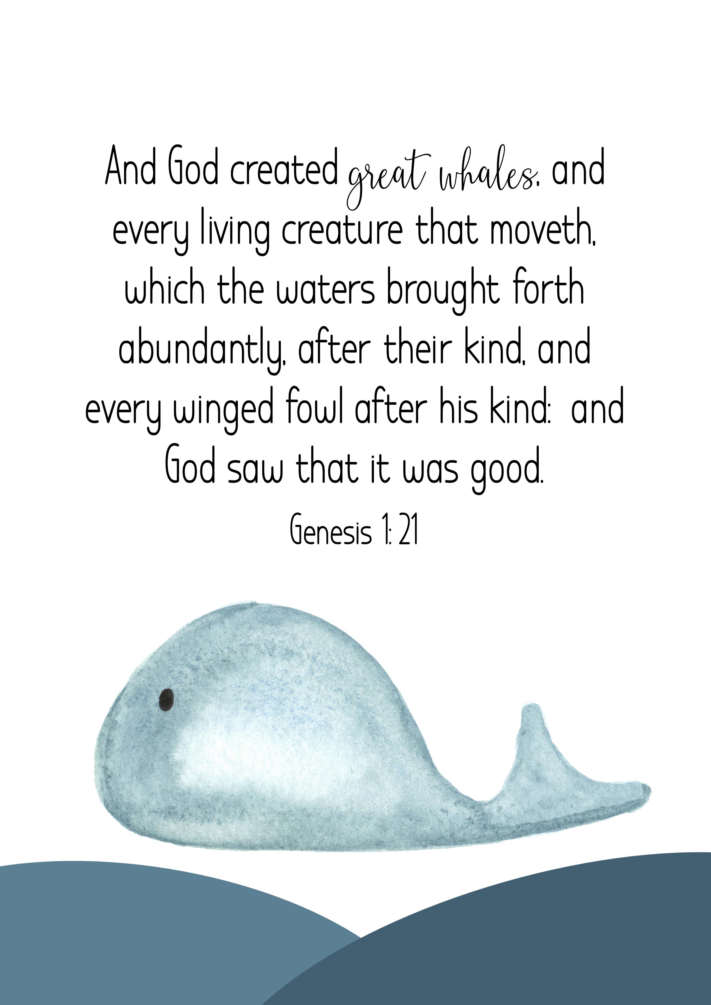 Genesis 1:21, Poster, JPG, King James Bible 1611, Ministries, Nederland