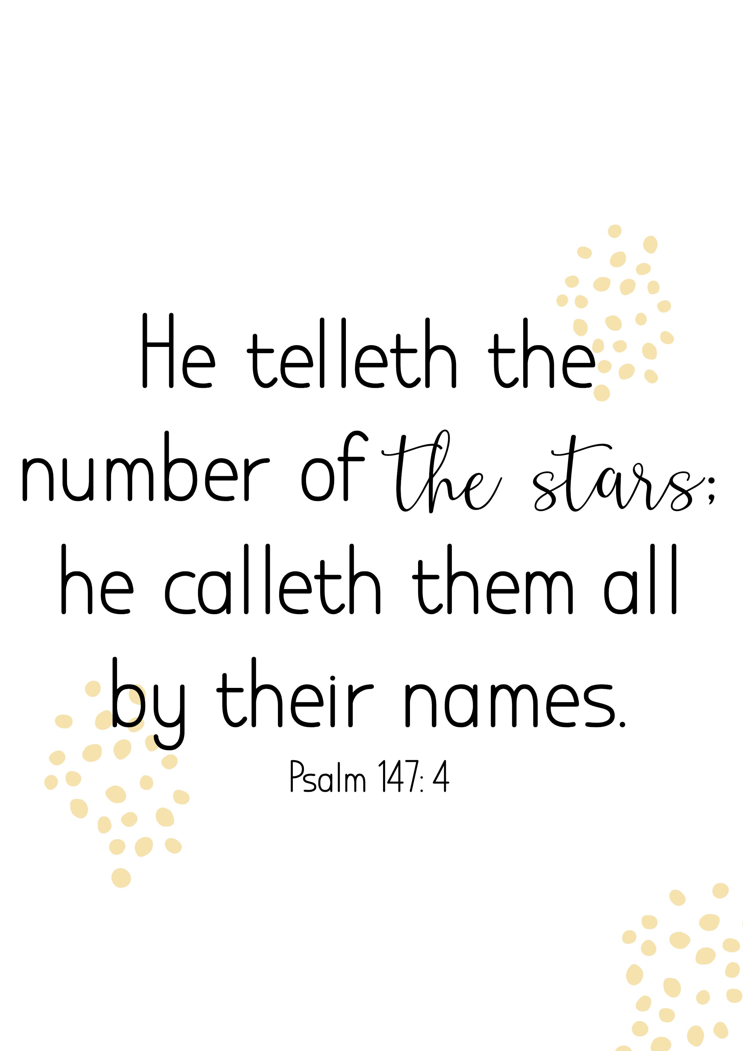Psalm 147:4, Poster, Jpg, King James Bible 1611, ministries, Nederland